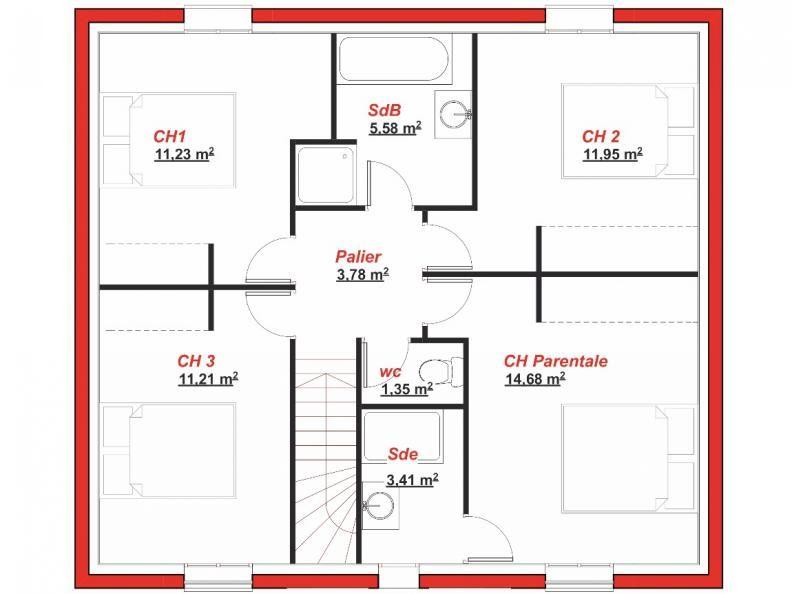 Plan tage baudoyer 129 maison maisonsberval plan plans de maisons plan maison maison et - Cuisine darty modele sorbonne ...