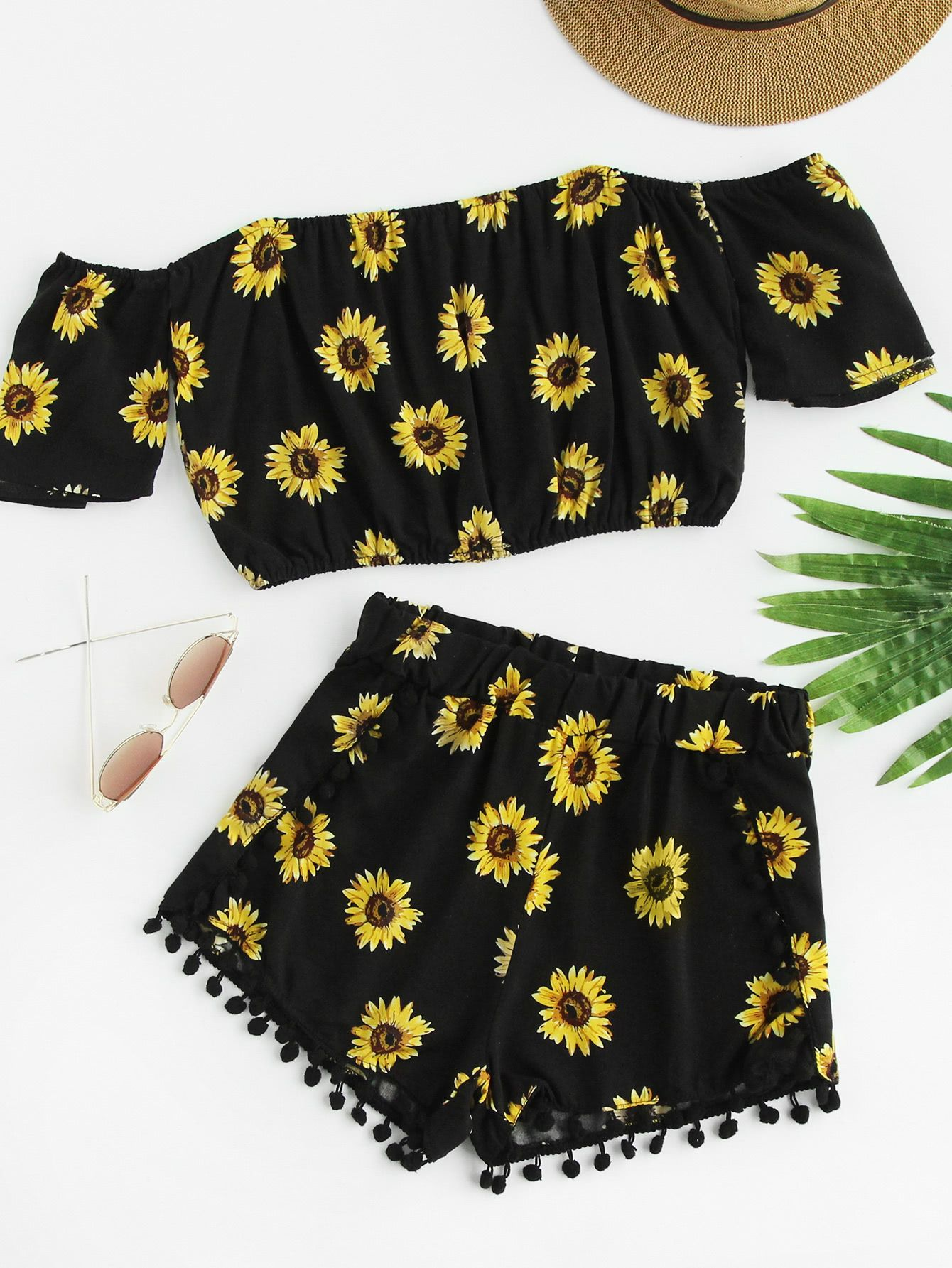 e9b64035515 Shop Bardot Sunflower Print Crop Top With Pom Pom Shorts online. SheIn  offers Bardot Sunflower Print Crop Top With Pom Pom Shorts   more to fit  your ...