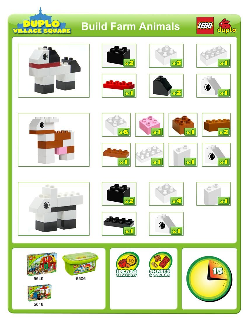 How To Guide By Lego Duplo To Build Cute Farm Animals Great Idea
