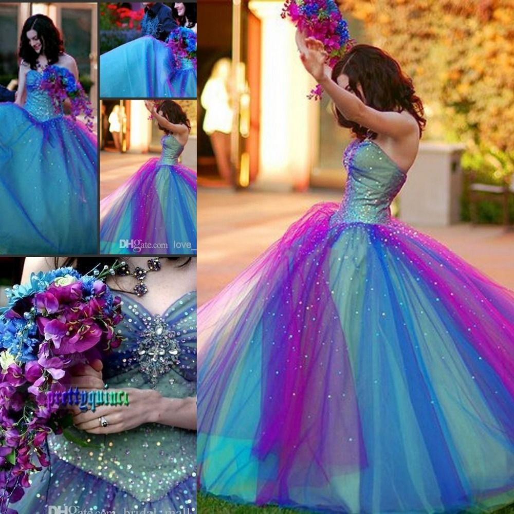 75866ba91a Find More Prom Dresses Information about 2014 Dreamlike Rainbow Prom Dress  Ball Gown Strapless Beadwork Corset