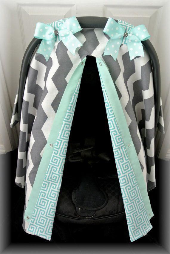 car seat canopy car seat cover teal grey gray by JaydenandOlivia, $35.99