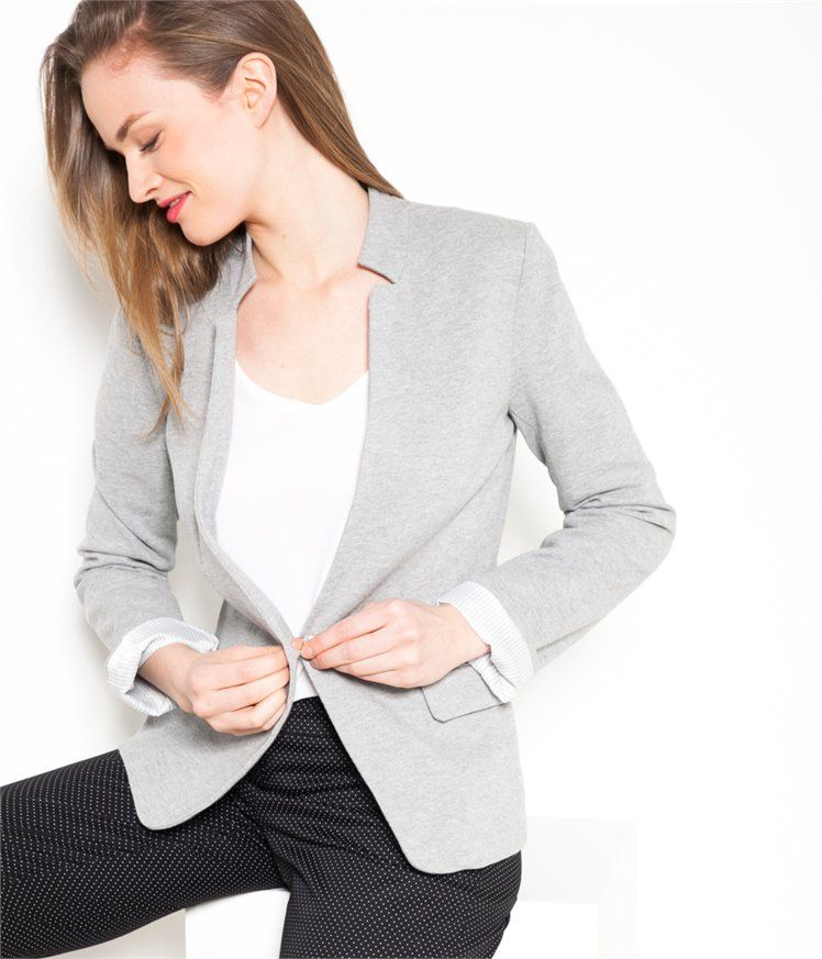 veste blazer femme gris les vestes la mode sont populaires partout dans le monde. Black Bedroom Furniture Sets. Home Design Ideas