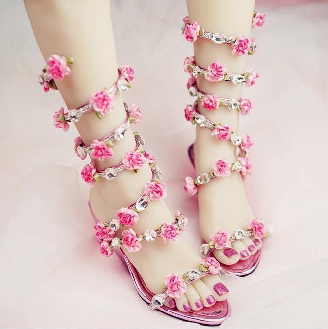 5557d75652 Womens Lolita Flowers Sequins Diamante Wedge Heels Sandals Gladiator Wedding