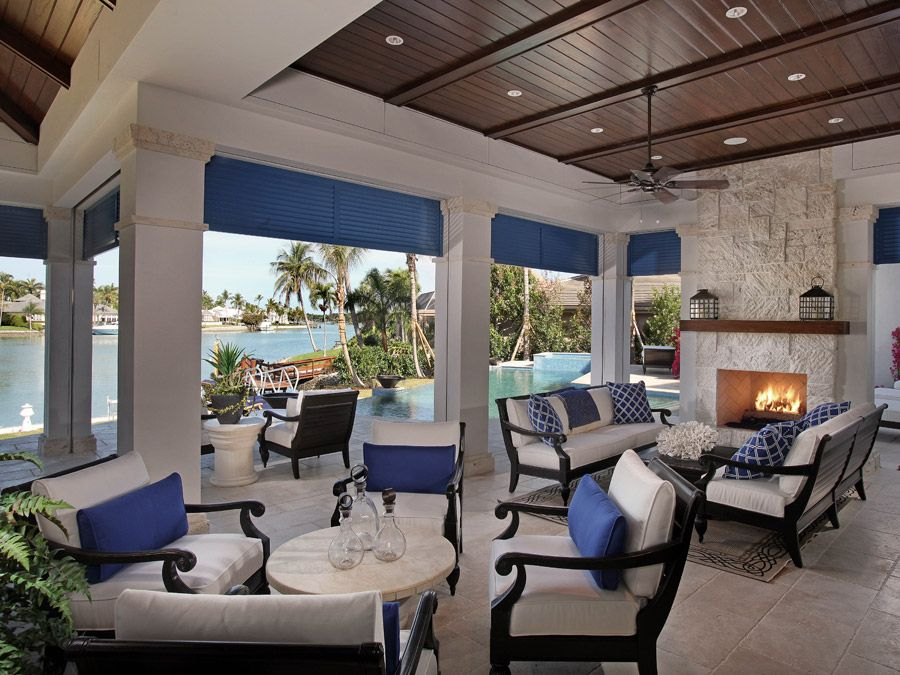 Outdoor Fireplace - Jinx McDonald Interior Designs, Naples Florida ...