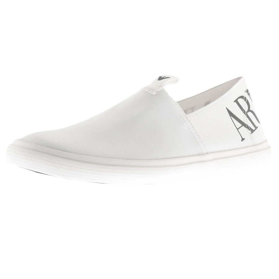f690dd6f Armani Jeans Logo Slip On Shoes White | Clothing in 2019 | Shoes ...