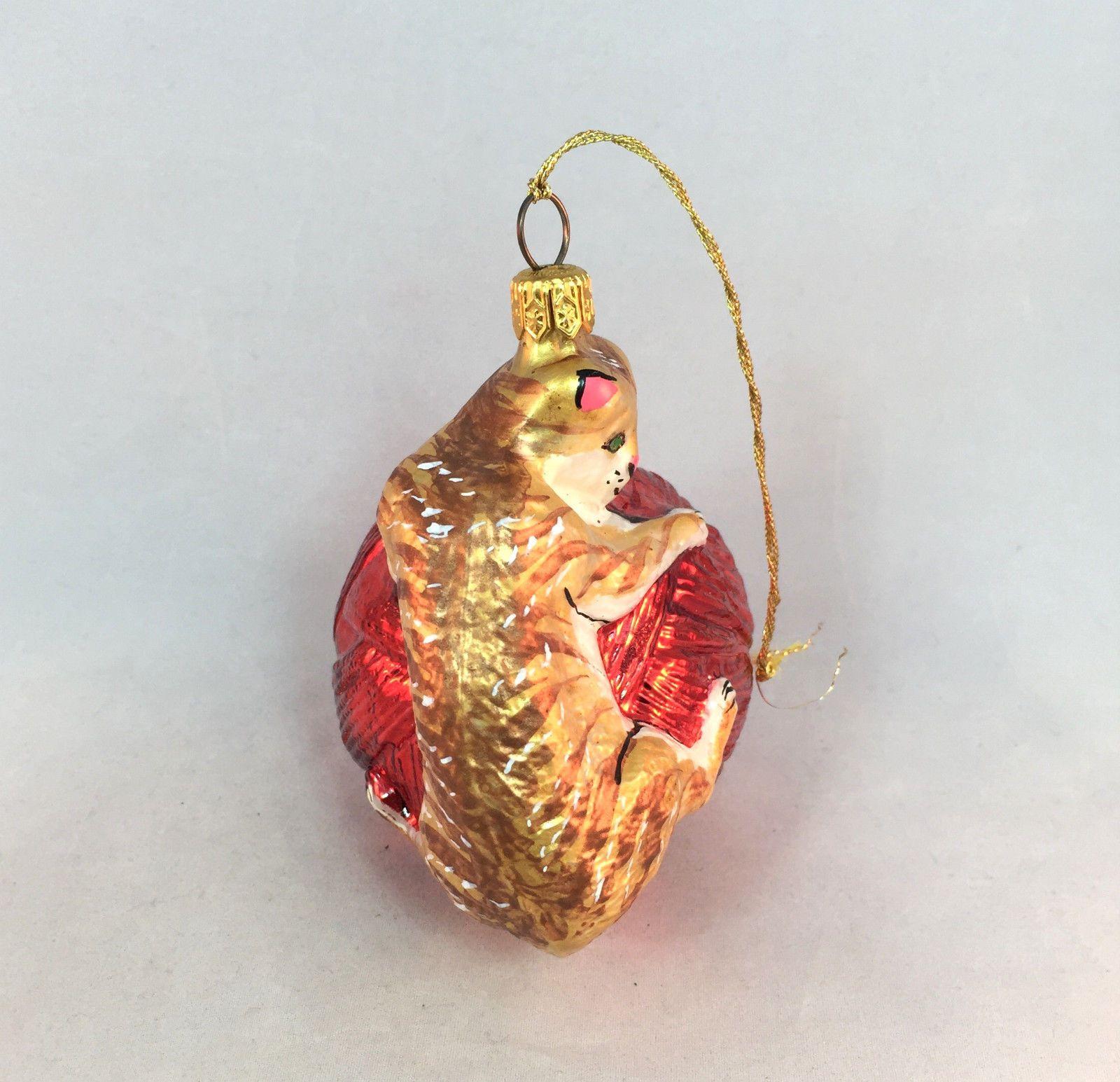 Glass cat ornaments - Kurt Adler Polonaise Cat On Yarn Ball Red Blown Glass Christmas Ornament Ebay