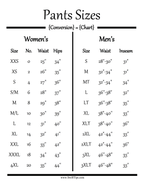 Men And Women Can Determine Their Pants Sizes By Measurements In The Waist Hips Inseam With This Clothing Conversion Chart