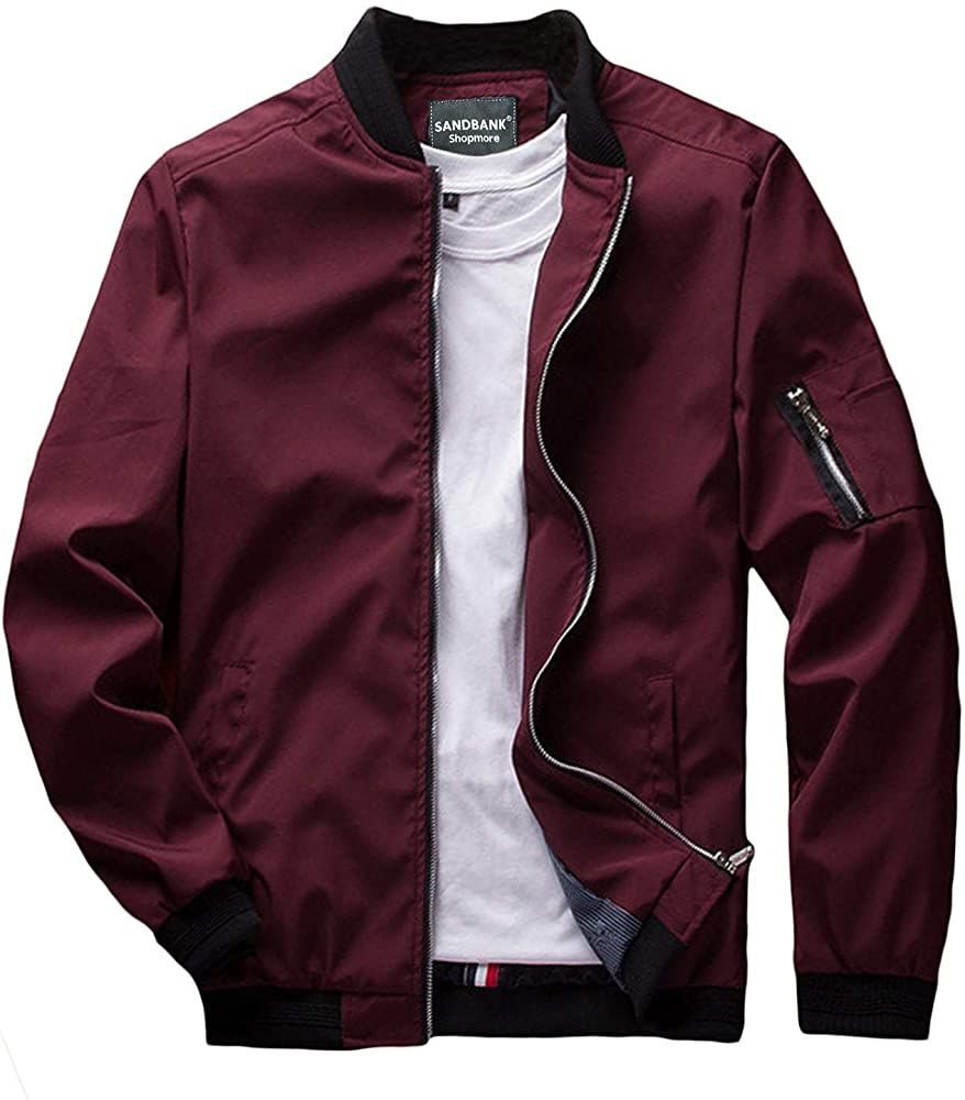 Sandbank Men S Slim Fit Lightweight Softshell Flight Bomber Jacket Coat Us Xs Wine Red 2 At Amazo Red Bomber Jacket Men Casual Bomber Jackets Bomber Jacket [ 1000 x 878 Pixel ]