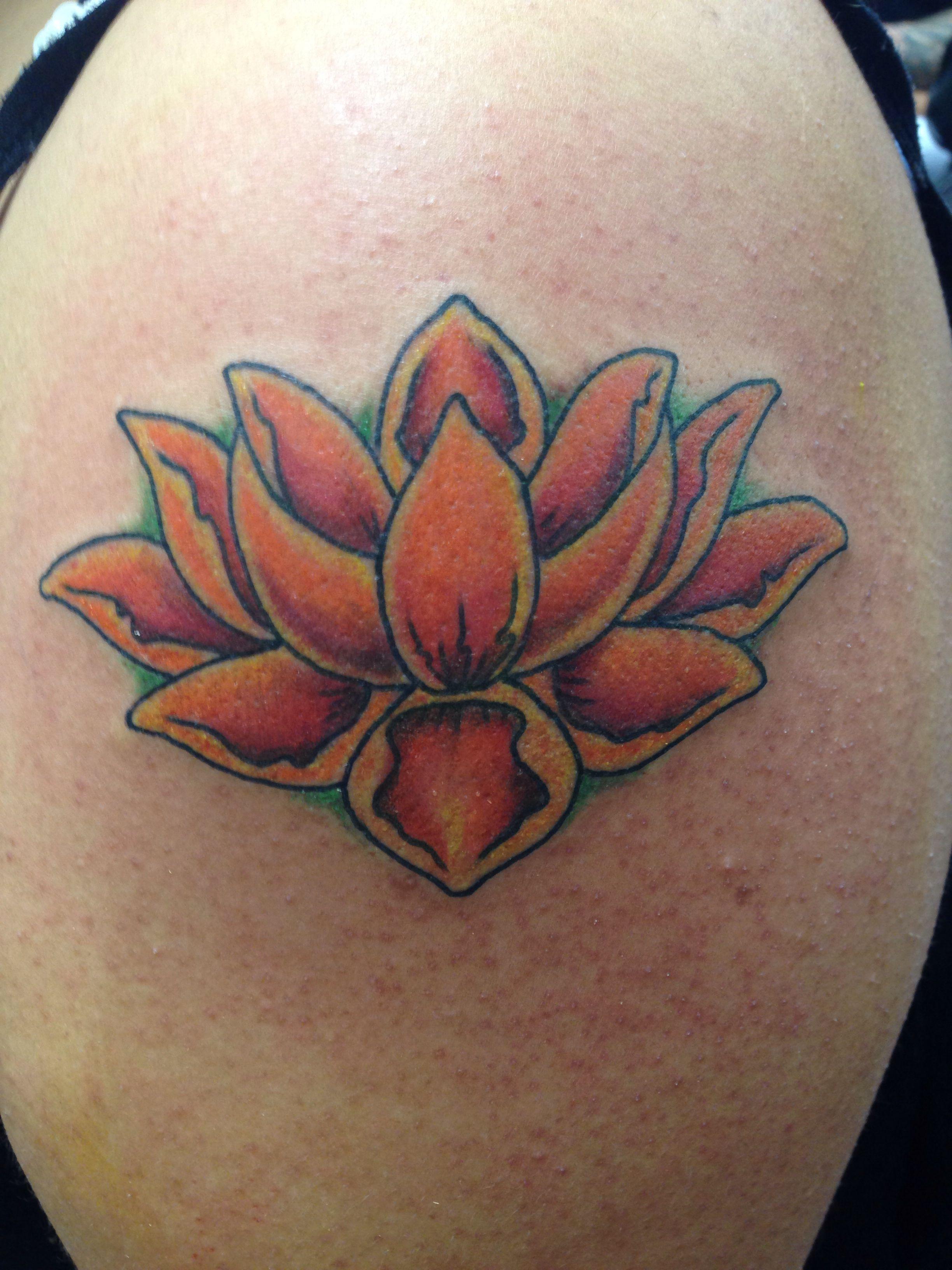 Tattoo 7 orange red lotus flower the beginning of my 12 sleeve tattoo 7 orange red lotus flower the beginning of my 1 izmirmasajfo