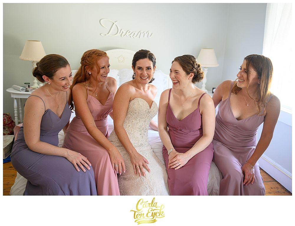 Owenego Inn Wedding Branford Ct Carla Ten Eyck Summer Wedding Outdoor Brides And Bridesmaids Blush Bridesmaids