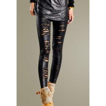 £ 3.66    Stylish Rip Design Lace Lining Embellished Women's Legging