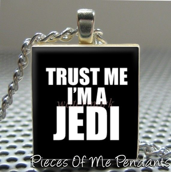 Pendant TRUST ME I'M A JEDI - Necklace Charm handmade with Scrabble Wood Tile ... Jewelry Art by Pieces Of Me Pendants