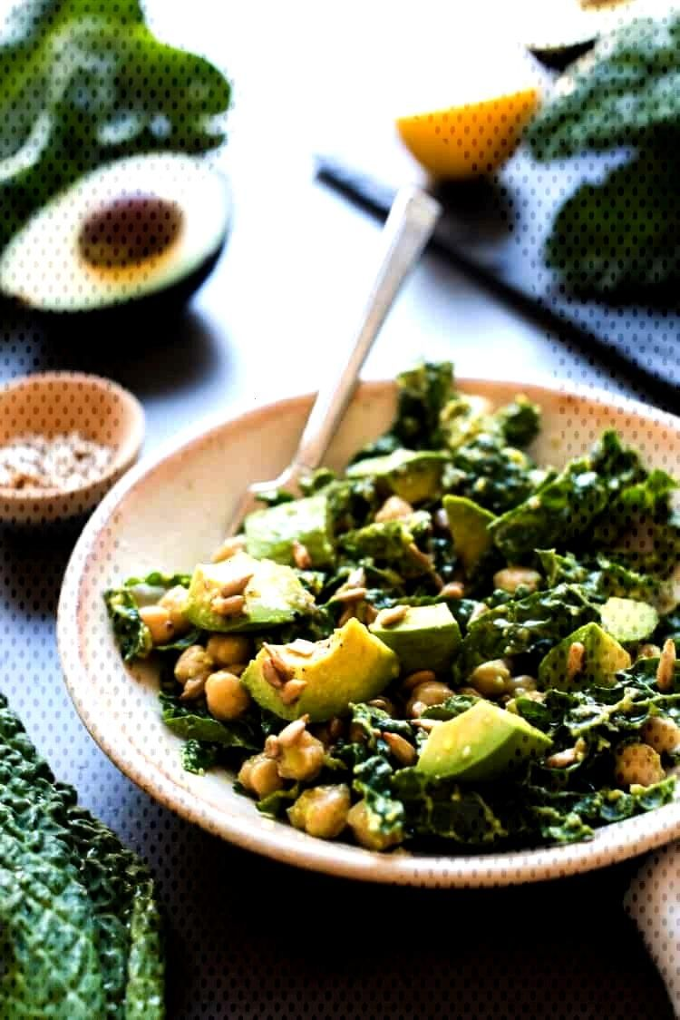 This Lemony Kale Avocado and Chickpea Salad from Simply Vegetarian Cookbook by Susan Pridmore is si