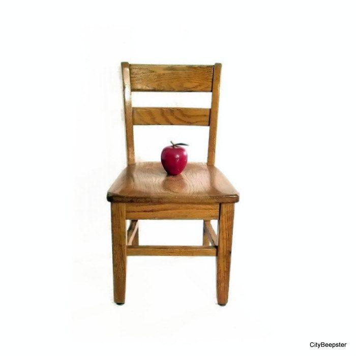 Vintage Wood School Chair   Small   Preschool   Toddler Chair   Slat Back    Solid Oak