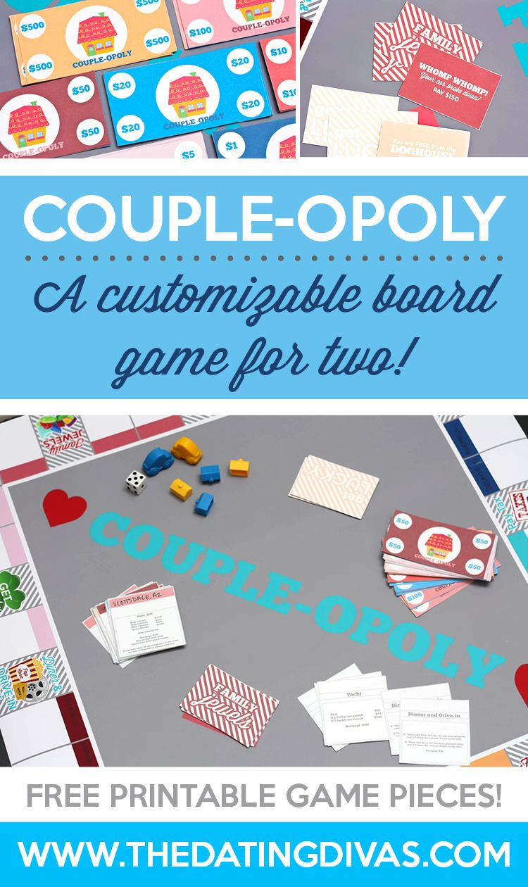 Customizable Game Couple Opoly Valentines Games