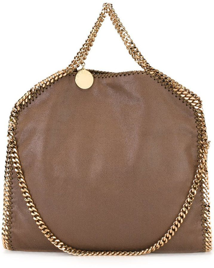 Stella McCartney  Falabella  tote in brown vegan leather with gold hardware. c9a8098e2fd71