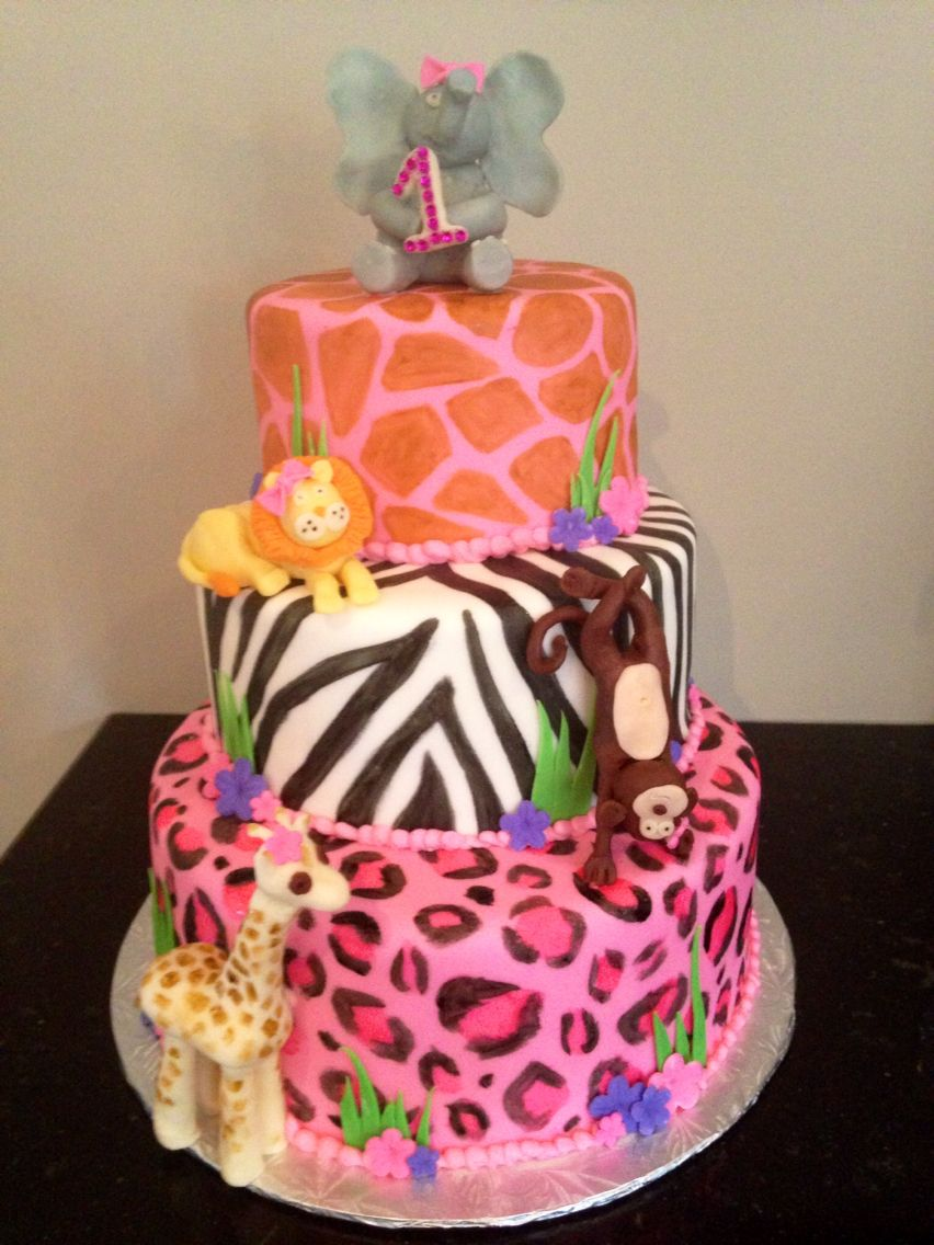 Safari animal little girls first birthday cake Birthday party