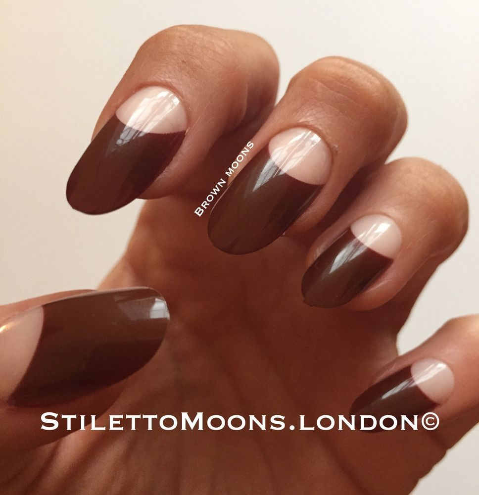 Long Stiletto Coffin false nails. BROWN French Manicure 24 Pcs ...