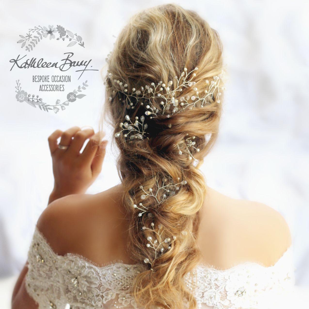 handmade extra long length bridal wedding hair vine crystal and