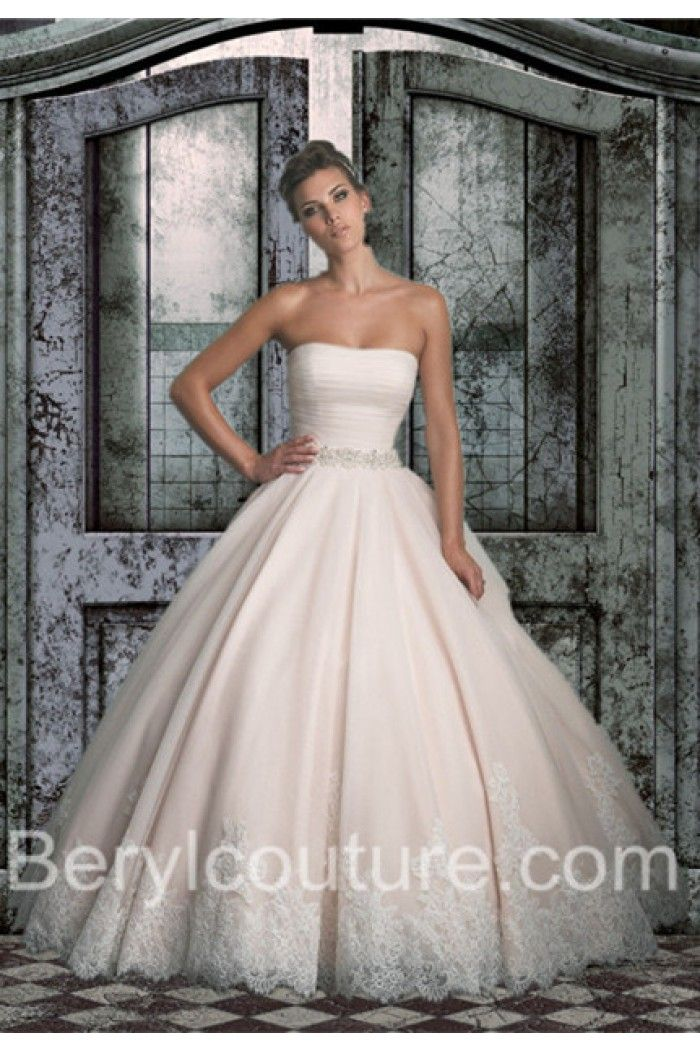 Champagne Lace Wedding Dresses Simple Ball Gown Strapless Colored Tulle