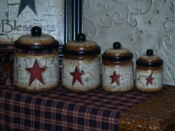 Farm House Rustic Primitive Star Vintage Canister Sets In Your