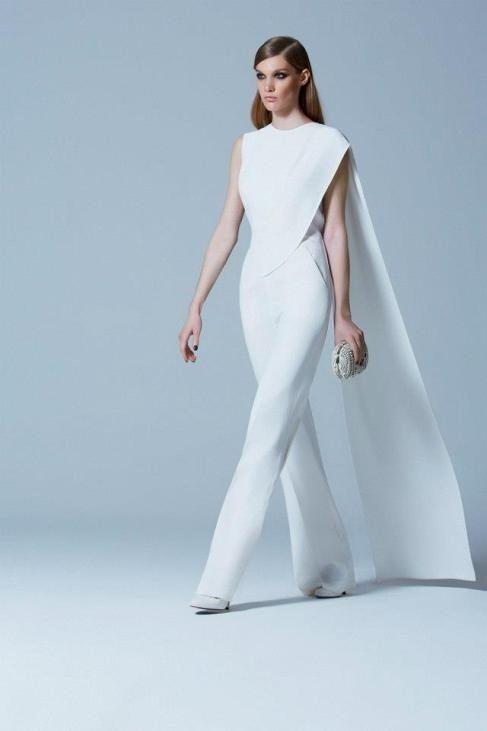 Elie Saab Weißer Brautoverall Mit Langem Zug Bridal Jumpsuit Formal Wedding White