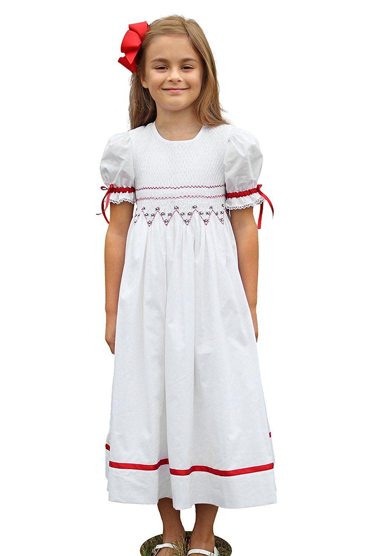 Amazon Com Strasburg Children Smocked Christmas Dresses Red White Size 3t To 8 Flower Red Christmas Dress Smocked Flower Girl Dress Smocked Christmas Dresses [ 1500 x 1000 Pixel ]