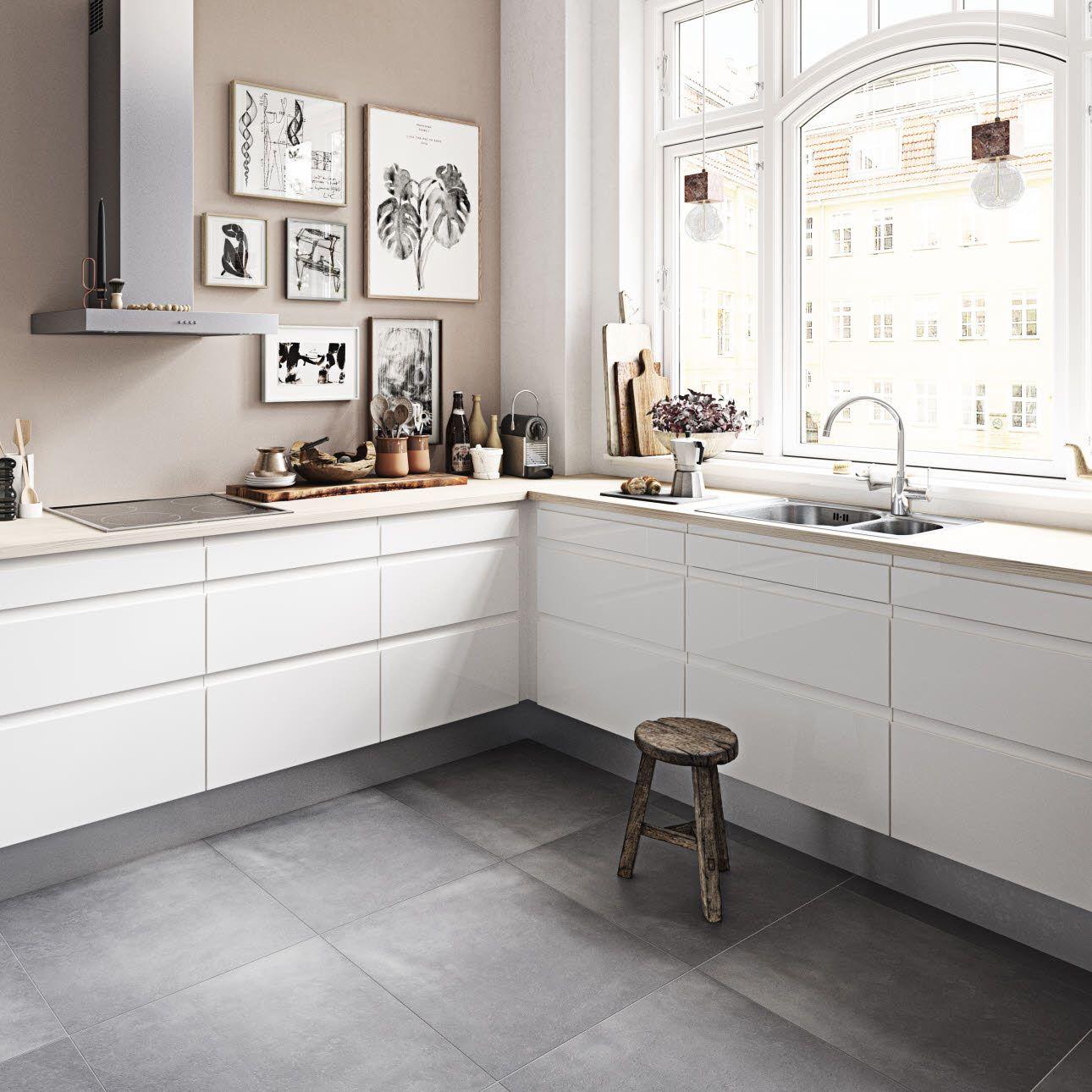 Next Hvid  HTH  Grått kjøkken, Kjøkkendesign, Kjøkken inspirasjon