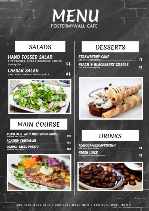 chalkboard menu template postermywall free restaurant flyer