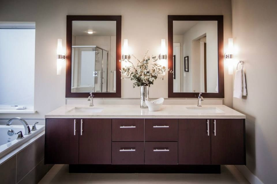 Best Mocha Wood Grain Flat Panel Contemporary Baths White 400 x 300
