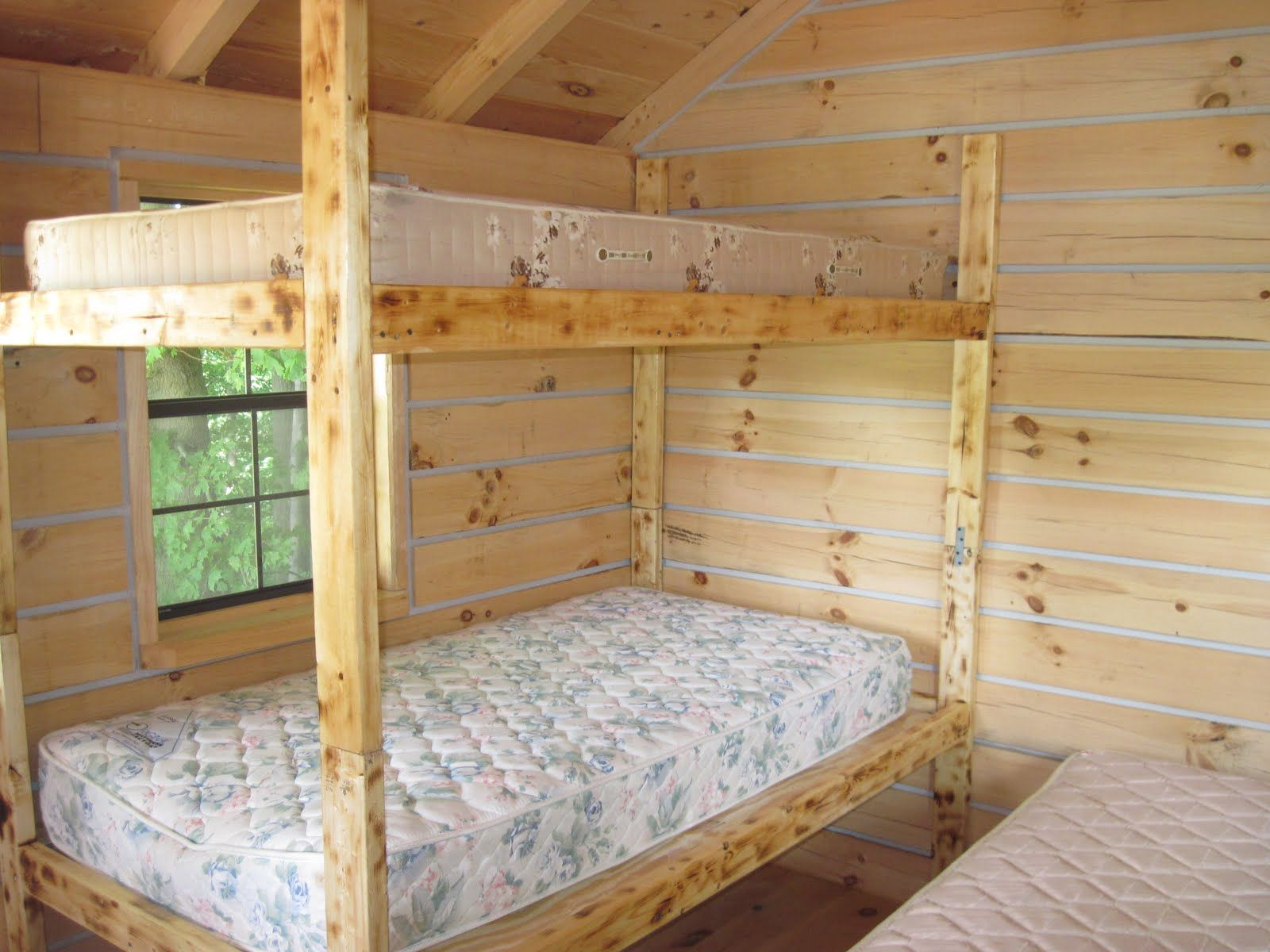 Cabin bunk bed plans wood bunk bed designs for every cabin for Log cabin style bunk beds