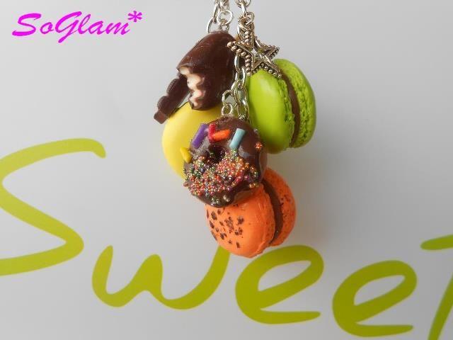Porte clefs Macarons, Beignet et Esquimau