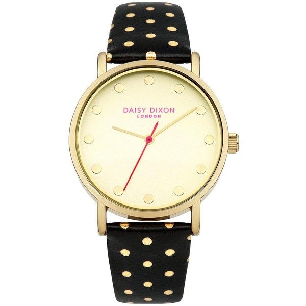 Daisy Dixon Candice Gold Dial Black Gold Polka Dot Pu Strap Ladies... (£40) ❤ liked on Polyvore featuring jewelry, watches, gold wristwatches, hot pink jewelry, black faced watches, water resistant watches and gold jewellery