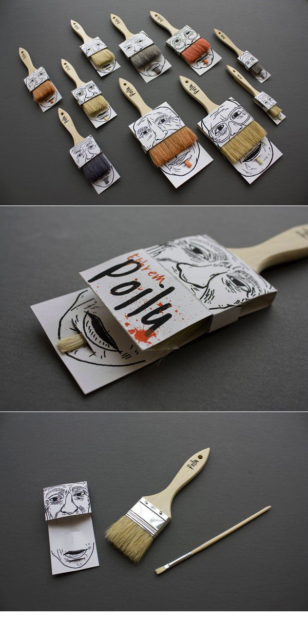[ hilarious + #Packaging + design + #Illustration + #mustache ] Paint brush package sleeve