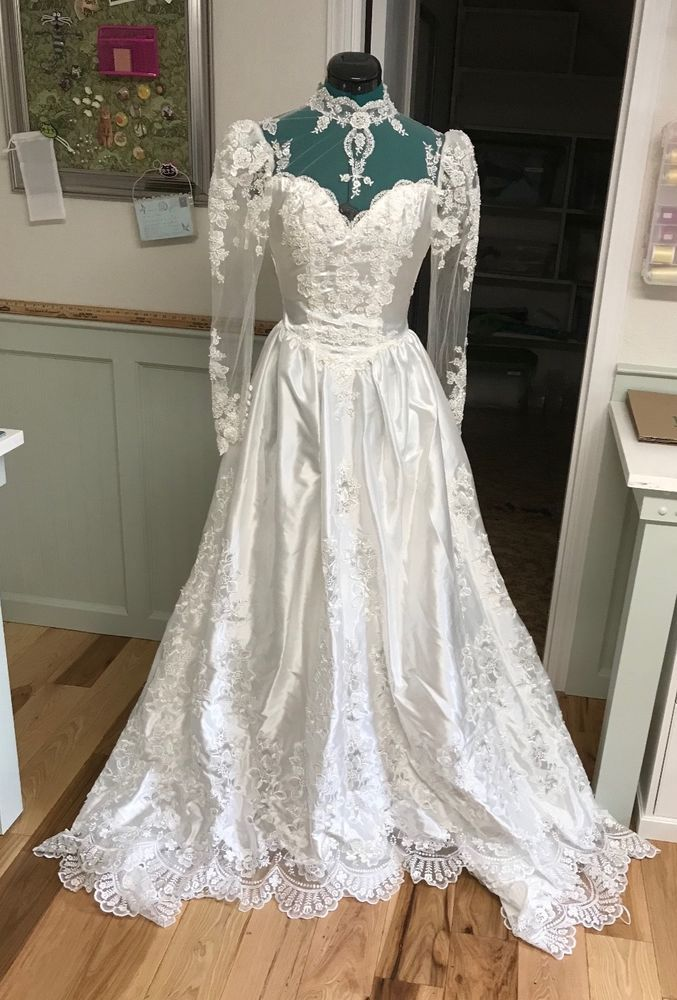 Vintage Wedding Dress With Long Train Used Once Circa 1986 Wedding Dresses Wedding Dresses Vintage After Wedding Dress