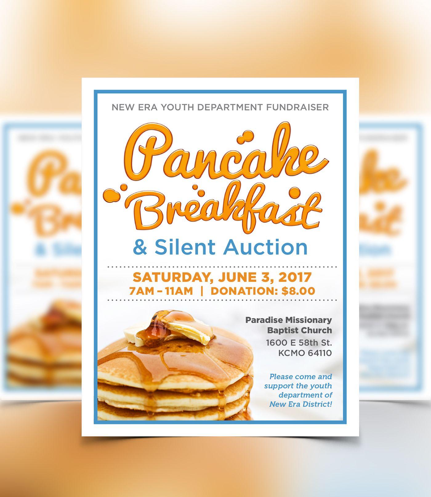 new era youth dept pancake breakfast fundraiser flyer design on behance