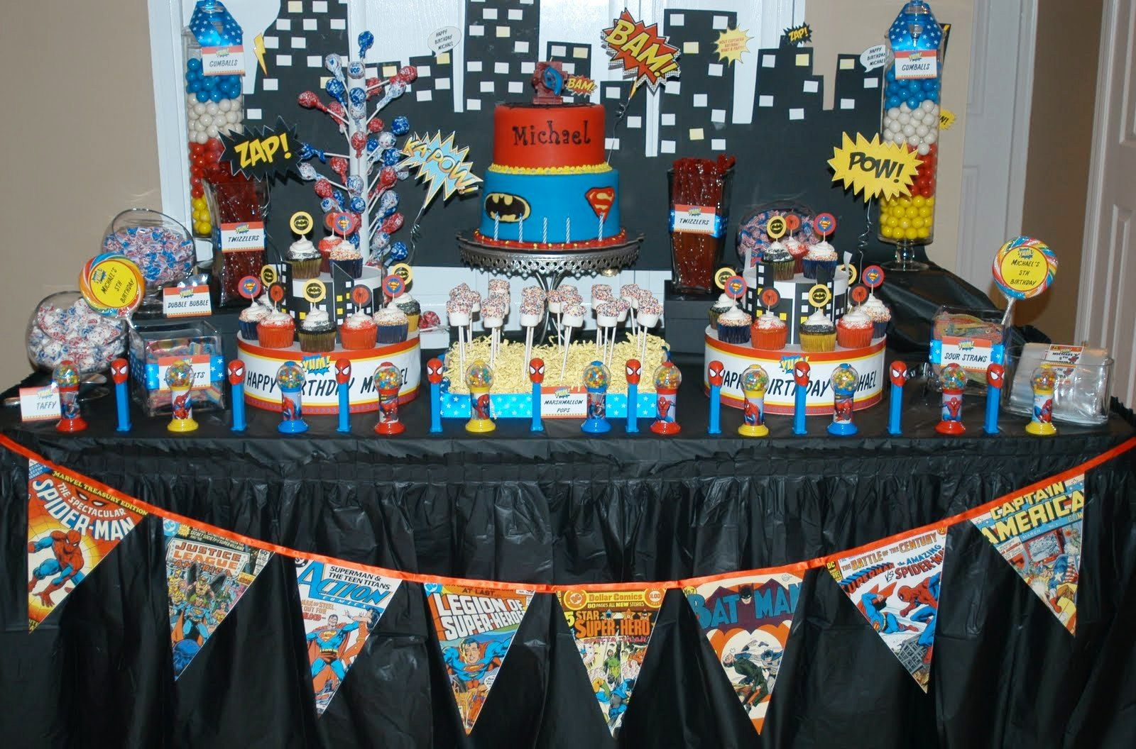 This Photo About Superhero Party Decorations For Children S Birthday Party Entitled A Marvel Birthday Party Superhero Party Decorations Superhero Decorations