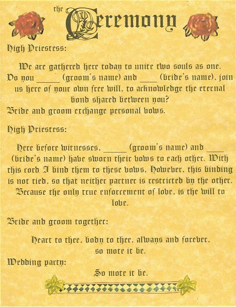 Book Of Shadows Page Handfasting And Ceremony Wicca Pagan