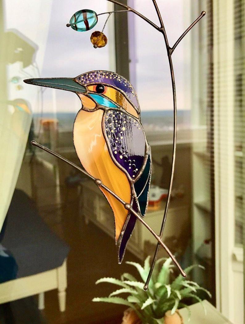 Stained glass Magpie suncatcher Wall hanging birds Custom bird Bird lover gift housewarming anniversary British birds Custom window decor