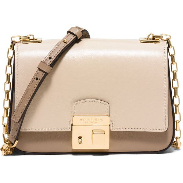 Michael Kors Collection Gia Small Chain-Strap Flap Bag (9.340 ARS) ❤ liked on Polyvore featuring bags, handbags, shoulder bags, dune, michael kors messenger bag, chain shoulder bag, michael kors purses, beige purse and chain handle purse