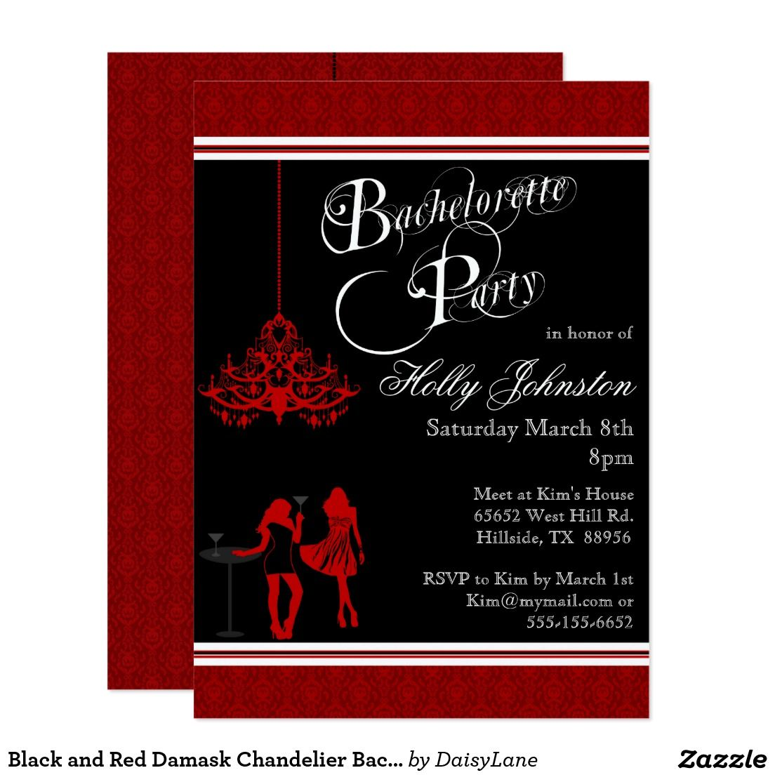 Black and Red Damask Chandelier Bachelorette Party Invitation ...