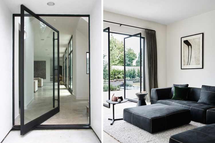 Puertas pivotantes vidrio interiorismo puertas for Ventanas de aluminio doble vidrio argentina