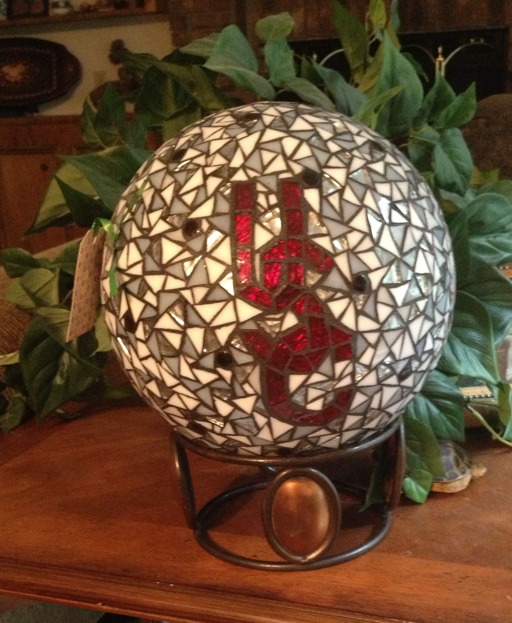 Backside Of Usc Gamecock Gazing Ball Stained Glass Mosaic Mosaic Crafts Mosaic Glass