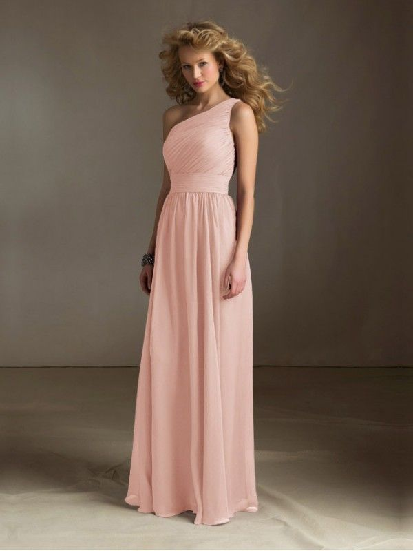 2ab87eb4bce98 Blush Pink One Shoulder Sleeveless Long Chiffon Bridesmaid Dress in ...