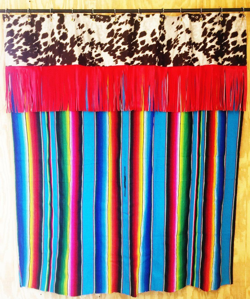 Handmade cow print top panel shower curtain with red fringe and ...