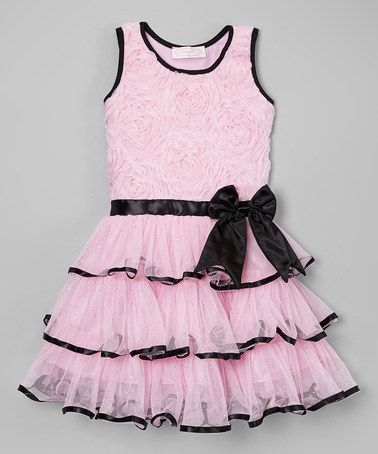 Take a look at this Pink & Black Rosette Bow Dress  by Popatu by Posh on #zulily today!