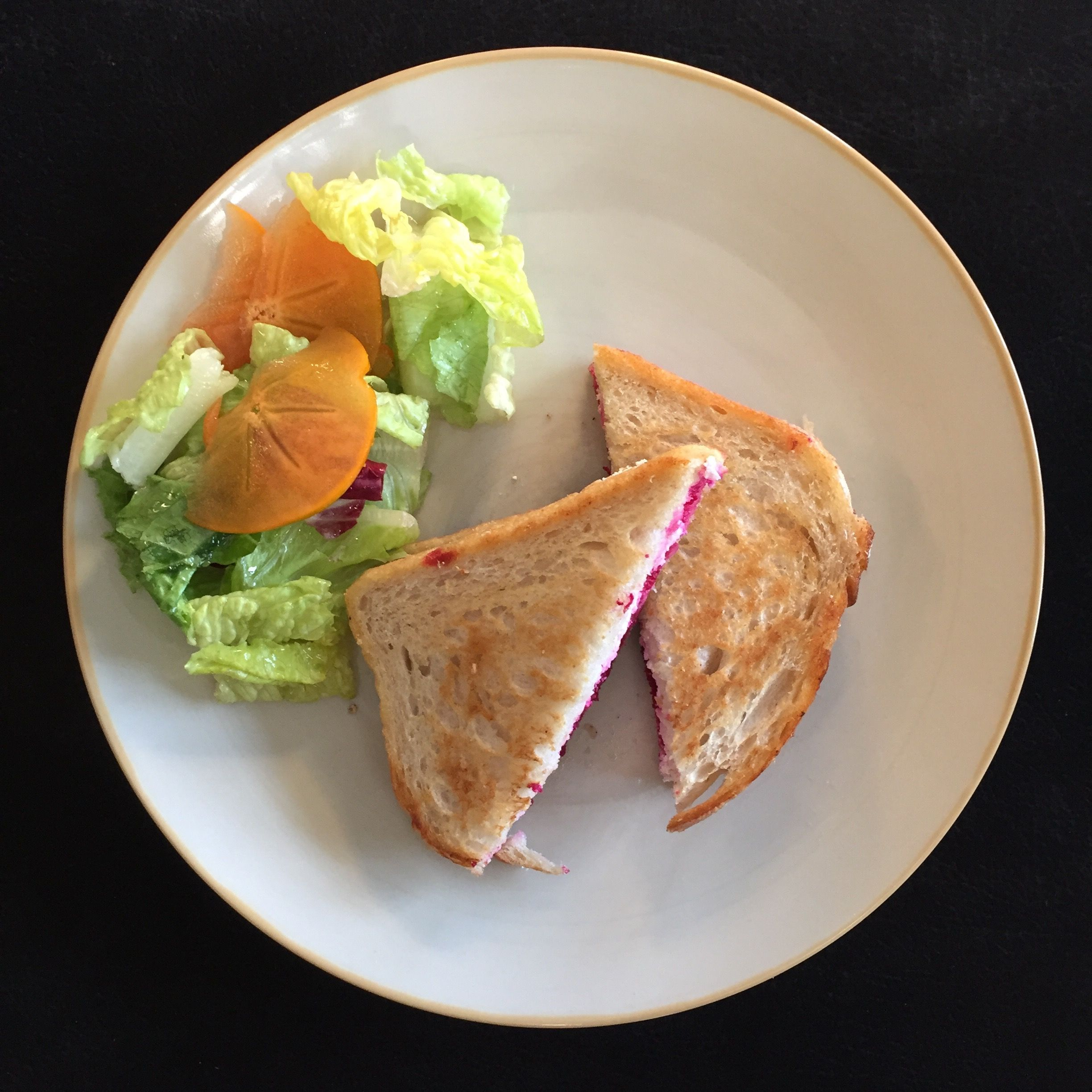 Blue apron quiche artichoke - Ricotta Beet Grilled Cheese Sandwiches With Persimmon And Marinated Salad