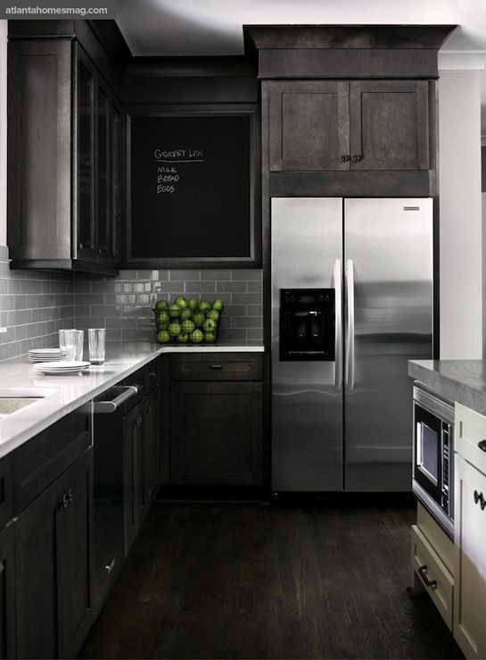 Smoke Glass Subway Tile Stained Kitchen Cabinets