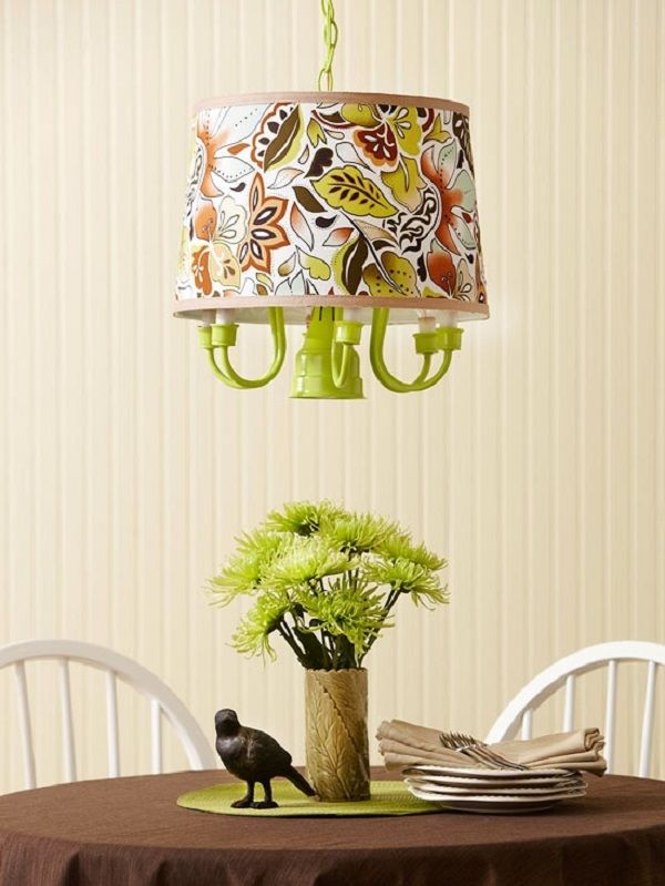 Diy lamps that will brighten diy chandelier chandeliers and fabrics lime green diy chandelier with fabric lamp shade mozeypictures Images