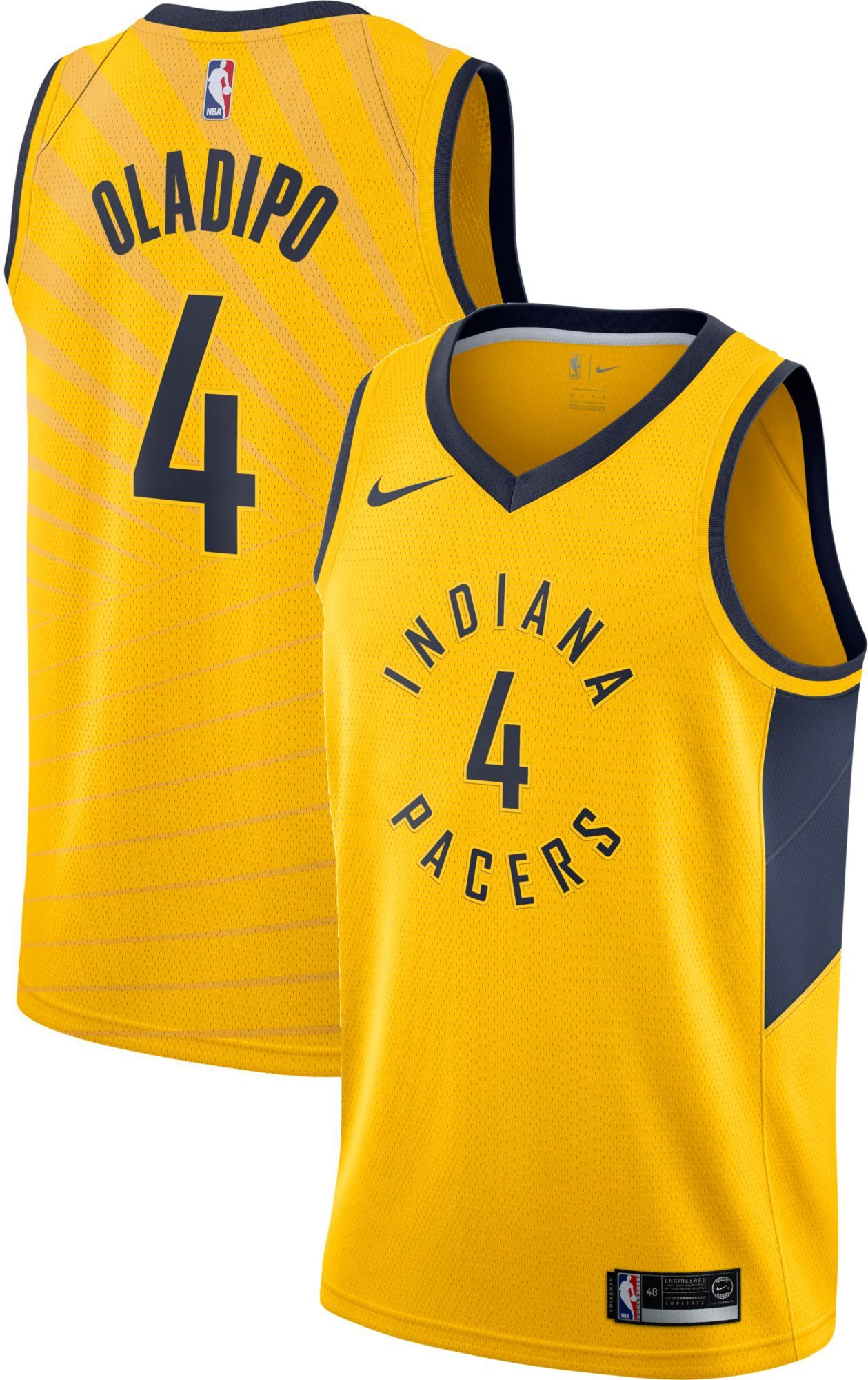 new styles 0106b 84d12 Nike Men's Indiana Pacers Victor Oladipo #4 Gold Dri-FIT ...